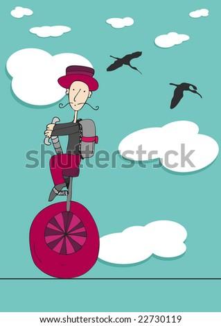 sky rider - stock vector
