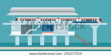 Sky train Station Flat Design Illustration Icons Objects, Side View, Station Concept - stock vector