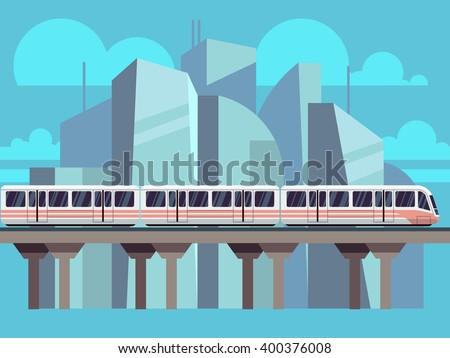 Sky Train, Subway Landscape Flat Concept. Vector train transportation concept on city backdrop - stock vector