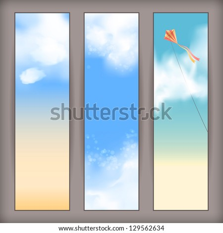 Sky vector banners with white fluffy clouds, blur, flying kite and space for text at the backdrop in blue and beige pastel colors. Vertical background design - stock vector