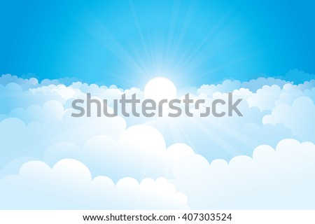 Sky with clouds and sunshine on a sunny day. Vector illustration