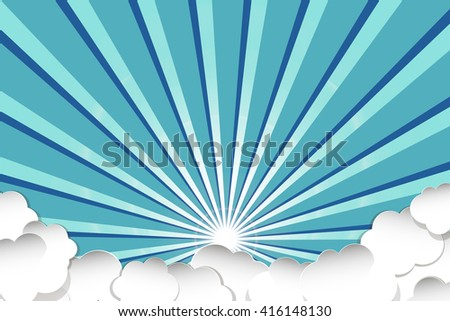 Sky with clouds blue.Vintage sky with clouds.Doodle sky with clouds, vector. Sky background with clouds. Blue sky with clouds, cartoon.Sky with clouds doodle. - stock vector