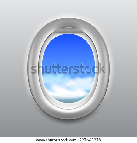 Sky with clouds in aircraft window realistic vector background - stock vector