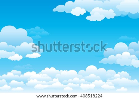 Sky with clouds  on a sunny day. Vector illustration - stock vector