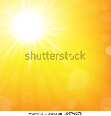 Sky With Sunburst, Isolated On Orange Background, Vector Illustration - stock vector