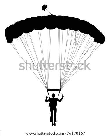 Skydiver silhouette. Vector - stock vector