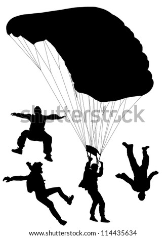 Skydiving Silhouette on white background - stock vector