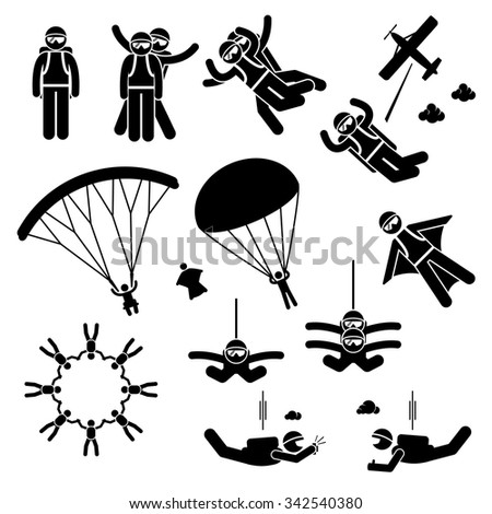 Skydiving Skydives Skydiver Parachute Wingsuit Freefall Freefly Stick Figure Pictogram Icons - stock vector
