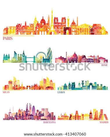 Skyline detailed silhouette set (Paris, London, Rome, Milan, Lisbon, Barcelona, Madrid ). Vector illustration - stock vector