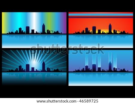 Skyline lights - stock vector