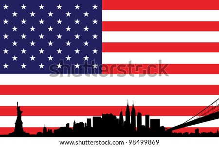 skyline of new york city with flag of united states of america