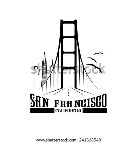 skyline of San Francisco vector design template - stock vector