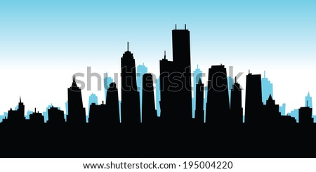 Skyline silhouette of a cartoon city.