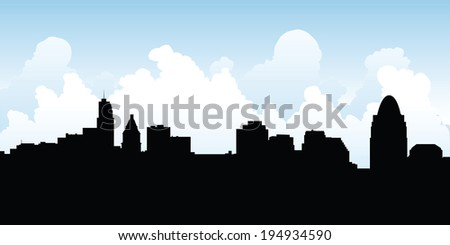 Skyline silhouette of the city of Cincinnati, Ohio, USA.