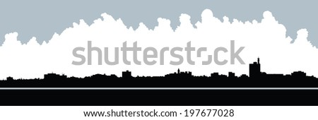 Skyline silhouette of the city of Moncton, New Brunswick, Canada.