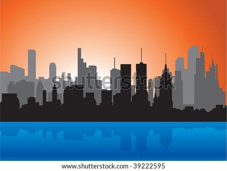 Skyline. Silhouette. Vector illustration - stock vector