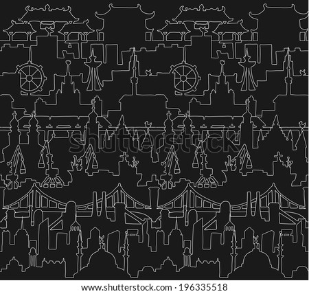 Skylines seamless pattern. Town. Isolated on a black background. Doodle. Vector. - stock vector