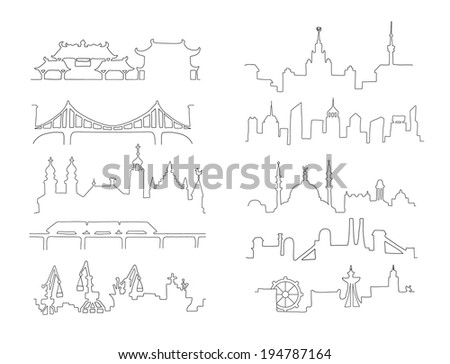 Skylines. Town. Isolated on a white background. Doodle. - stock vector