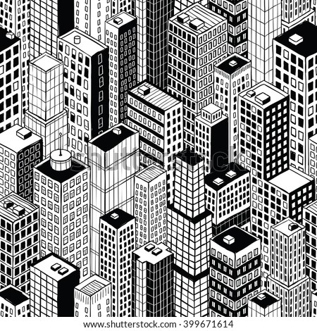 Skyscraper City Seamless Pattern (small) is hand drawing of different high-rise buildings like Manhattan in isometric projection. Illustration is in eps8 vector mode.