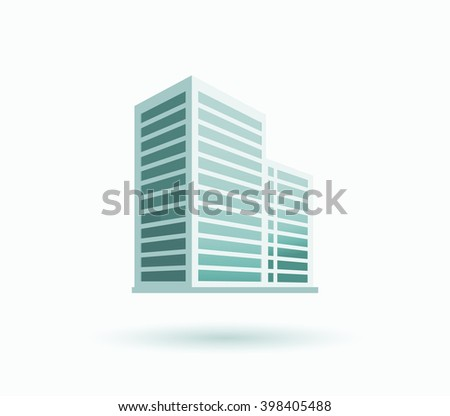 Skyscraper logo building icon. Black building and isolated skyscraper, tower and office city architecture, house business building logo, apartment office vector illustration