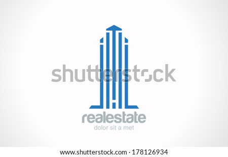Skyscraper Real Estate vector logo design template. Realty sign. Corporate Business Building. Architecture concept icon. - stock vector