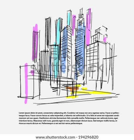 skyscraper scribbles - stock vector