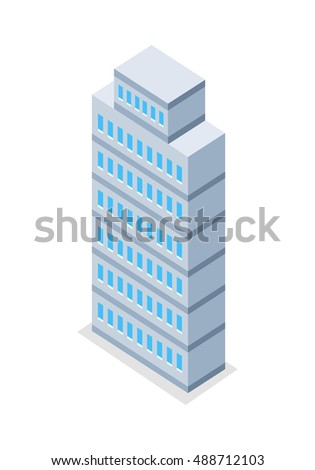 Skyscraper vector illustration in isometric projection. High building picture for estate, architectural concepts, web, app, icons, infographics, logotype design. Isolated on white background.