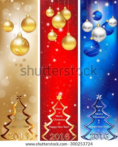 Skyscraper web Banner set for Christmas and New Year 2016, in three colors. Contains Christmas baubles, Christmas tree and celebration decoration elements.   - stock vector