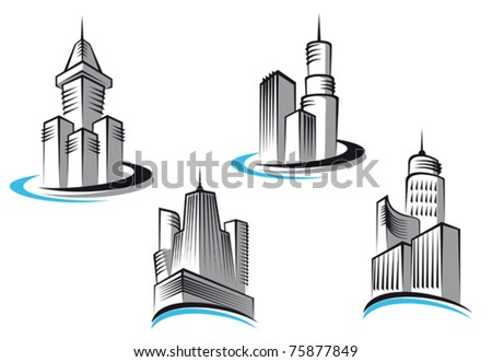 Skyscrapers and real estate symbols for design and decorate or logo template. Jpeg version also available in gallery - stock vector