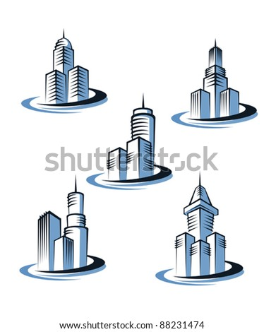 Skyscrapers and real estate symbols for design and decorate, such a logo. Jpeg version also available in gallery - stock vector