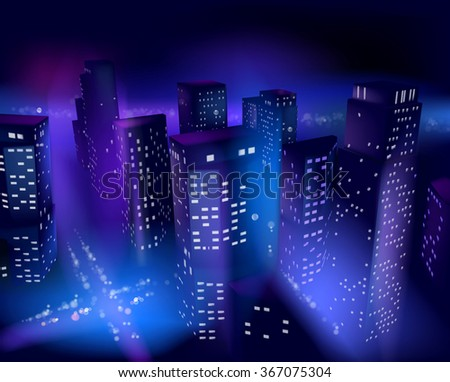 Skyscrapers at night. Vector illustration. - stock vector