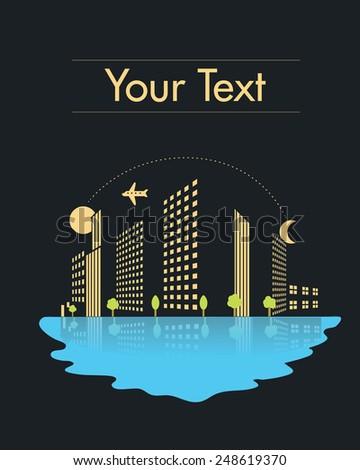 skyscrapers city vector illustration at night  - stock vector