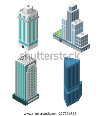 Skyscrapers 3d isometric office buildings business apartment set isolated vector illustration - stock vector