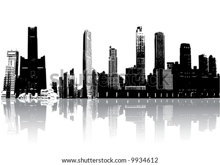 Skyscrapers silhouette with reflection against white (vector, illustration) - stock vector