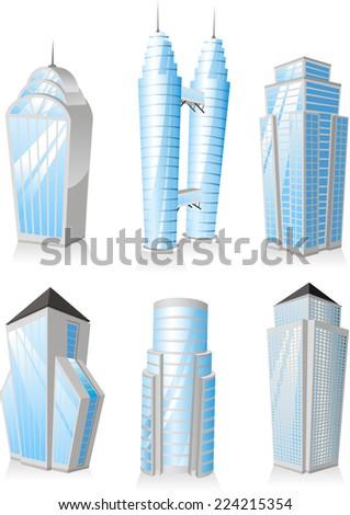 Skyscrapers Tower skyscraper apartment penthouse edifice structure set 1 office buildings. - stock vector