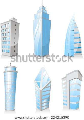 Skyscrapers Tower skyscraper apartment penthouse edifice structure set 3. Vector illustration.  - stock vector