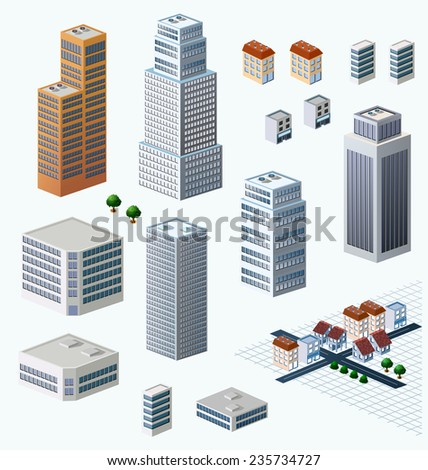 Skyscrapers, urban high-rise home. Set of objects for urban design.