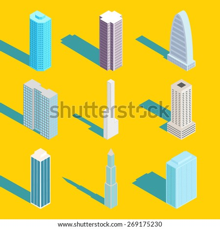 Skyscrapers, vector isometric city buildings. Exterior and estate, design web element, real apartment - stock vector