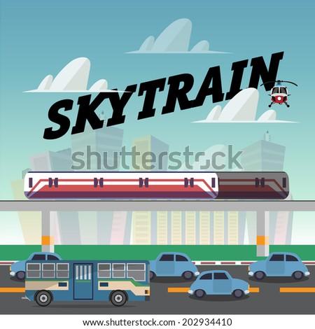 skytrain in the city.railcar. electric train. traffic jam - vector illustration - stock vector