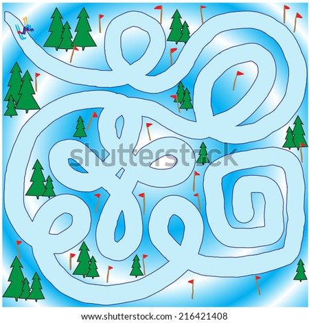 slalom skier. vector illustration - stock vector