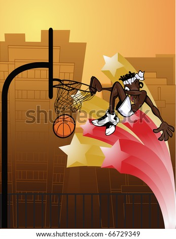 Slam Dunk Urban/Cartoony character with urban feel slam dunking outdoors. - stock vector