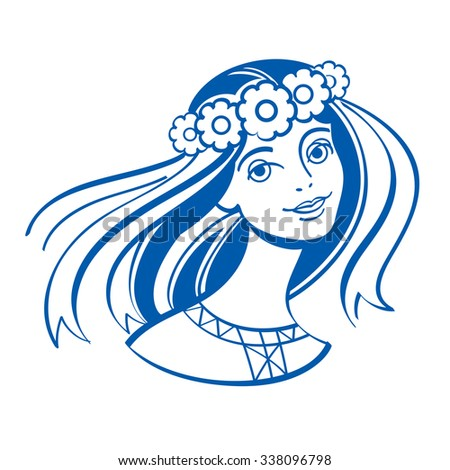 Slavic girl in a wreath of flowers with ribbons - stock vector