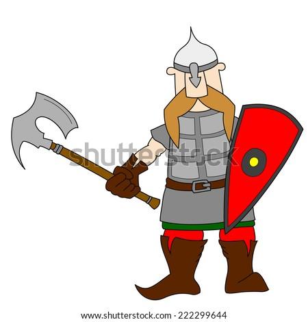 Slavic knight with an axe. Cartoon world warriors series. - stock vector