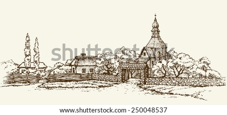 Slavic rustic scenery: clay hut with thatched roof, wooden chapel of stone wall, poplar. Freehand drawn sketch background in style antiquity ink pen on paper. Panoramic view with space for text on sky