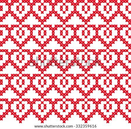 Slavic Seamless Pattern Ornament Cross Stitch Stock Vector 332359616