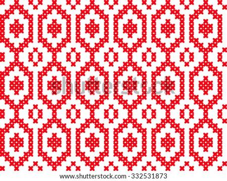 Slavic Seamless Pattern Ornament Cross Stitch Stock Vector 332531873