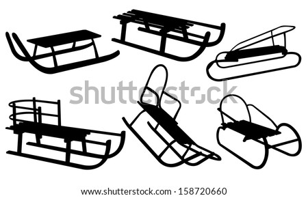 sled set isolated on white - stock vector