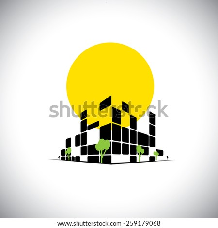 sleek city high rise skyscraper and sun in background - concept vector. This also represents city downtown, mall, super center, commercial market, office space, headquarters, hospital, apartments - stock vector