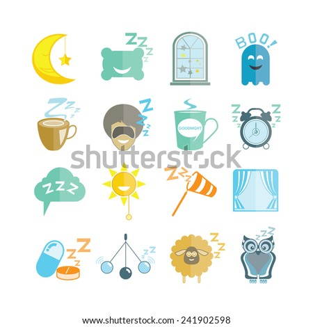 sleep icons, bed time icons - stock vector