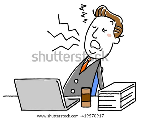 Sleep in the middle-aged businessman work: illustration material